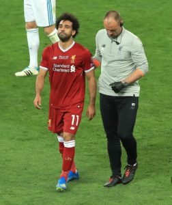 Mo Salah leaves the field after clash with Ramos
