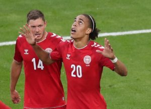 Yussuf Poulsen scorer for Denmark against Peru