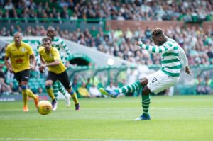 Ten-man Celtic cruised into the Champions League second qualifying round as expected with a comprehensive 3-0 win over Alashkert at Parkhead.
