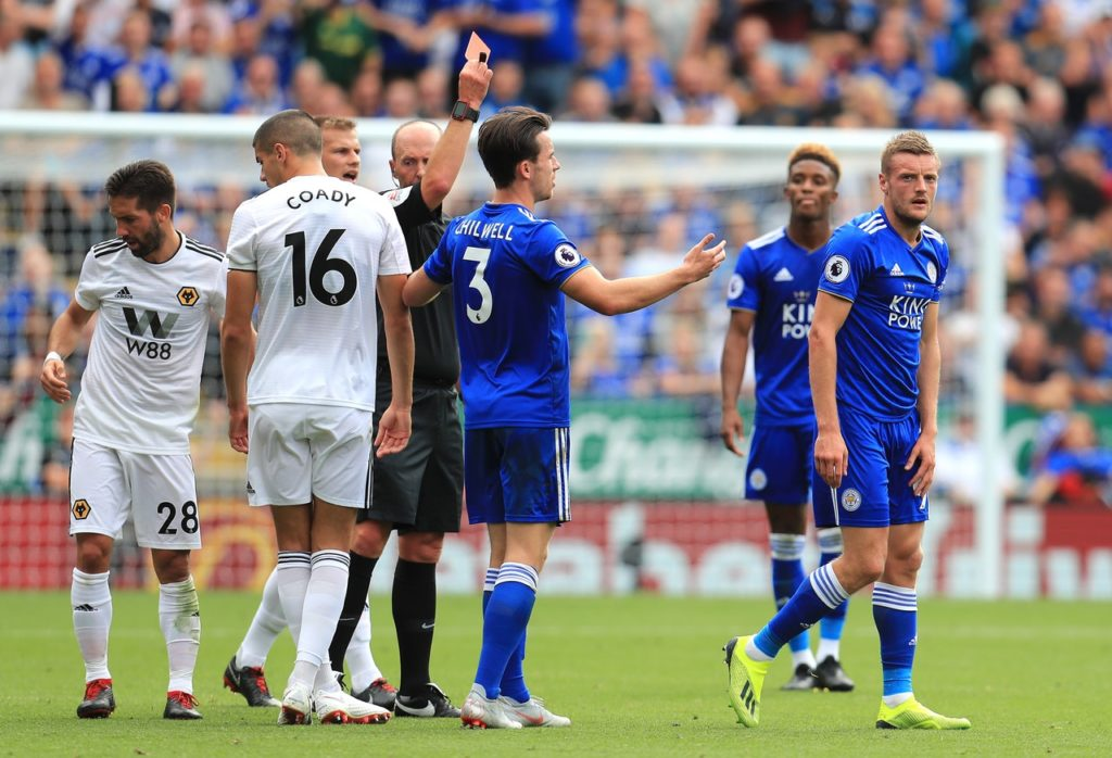 Claude Puel has jumped to the defence of Jamie Vardy after he was sent off during Leicester's 2-0 victory over Wolves.