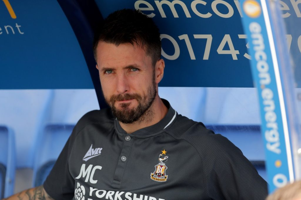 Bradford boss Michael Collins praised his side's performance despite being knocked out of the Carabao Cup by League Two side Macclesfield.