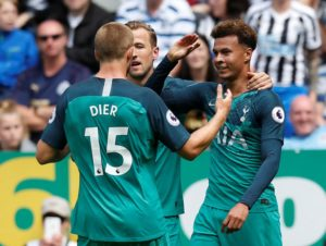 Tottenham won an entertaining match at Newcastle United 2-1 with all the goals coming in the first 18 minutes.