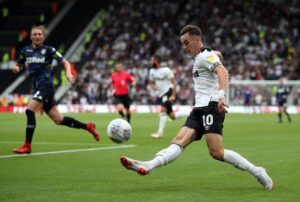 Derby will be without suspended forward Tom Lawrence for their home game against Blackburn.