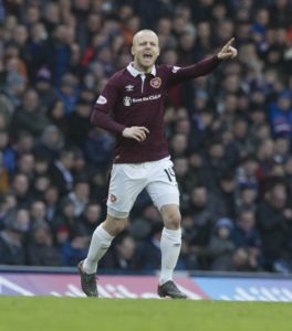 Steven Naismith saw a penalty saved as Hearts lost their 100 per cent start to the Ladbrokes Premiership after a goalless home draw with Livingston.