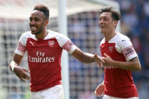 Pierre-Emerick Aubameyang scored twice as Arsenal made a good start to their Europa League campaign by beating Vorskla Poltava 4-2.