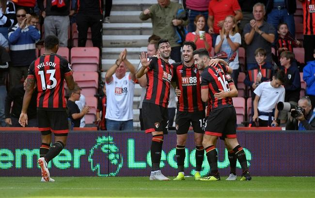 Ryan Fraser scored twice and set up another as Bournemouth defeated Leicester City 4-2 at the Vitality Stadium.