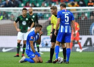 Hertha Berlin general manager Michael Preetz has confirmed that loan midfielder Marko Grujic has suffered ankle ligament damage.