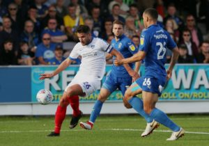 League One leaders Portsmouth survived a second half fightback to beat Wimbledon 2-1 at Kingsmeadow.