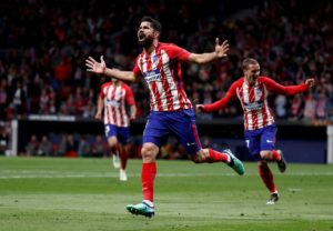 Atletico Madrid striker Diego Costa will be absent for at least two weeks due to a hamstring injury.