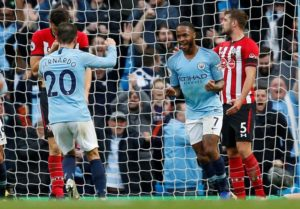 Man City moved two points clear at the top of the Premier League table as they swept Southampton aside 6-1 at the Etihad Stadium.