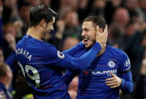 Alvaro Morata scored twice as Chelsea won 3-1 at home to Crystal Palace to move up to second place in the Premier League standings.