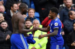 Sol Bamba scored a dramatic late winner as Cardiff City came from behind to defeat 10-man Brighton 2-1.