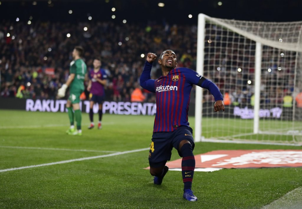 Barcelona forward Malcom has been ruled out for up to two weeks with a sprained ankle, meaning he will miss Tuesday's Champions League clash with Tottenham.
