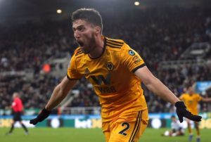 Matt Doherty scored an injury-time winner as Wolves defeated ten-man Newcastle 2-1 in the Premier League at St James' Park.
