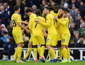 Chelsea held off a fightback from Brighton to earn a 2-1 win at the Amex Stadium, with Eden Hazard scoring one and creating the other.