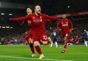 Xherdan Shaqiri came off the bench to be Liverpool's hero as they defeated a limited Manchester United side at Anfield.