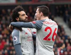 Andy Robertson has laughed off claims Mohamed Salah has dived for recent penalties after the Liverpool star scored another on Saturday.