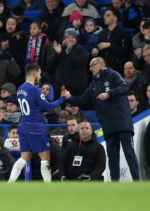Chelsea boss Maurizio Sarri has dismissed suggestions that Eden Hazard is unhappy playing as a 'false nine' for the Blues.
