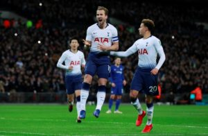 Harry Kane's VAR-assisted penalty secured Tottenham a 1-0 Carabao Cup semi-final first leg win against Chelsea at Wembley.