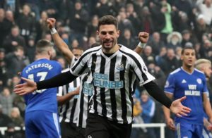 Fabian Schar scored a goal in each half as Newcastle moved out of the relegation zone with a 3-0 win over struggling Cardiff.