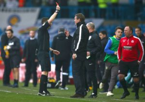 Bolton manager Phil Parkinson was left baffled by referee Tony Harrington's decision to show him a red card in his side's 2-1 defeat at Leeds.