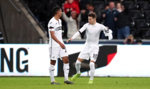Dan James inspired an amazing second-half comeback as Swansea reached the quarter-finals of the FA Cup with a 4-1 victory over 10-man Brentford.