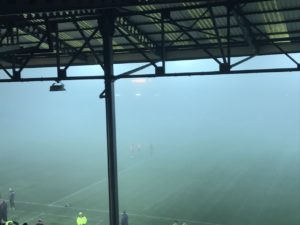 Kilmarnock's match with Motherwell was called off due to heavy fog at Rugby Park with the Ladbrokes Premiership clash abandoned moments into the second half.