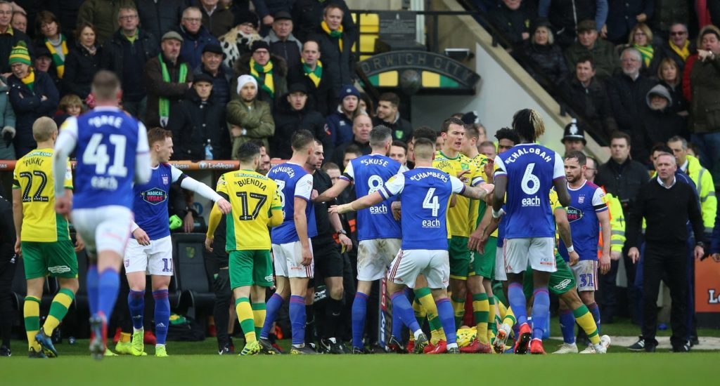 Ipswich manager Paul Lambert said he had no regrets after receiving a red card in the East Anglian derby at Norwich.