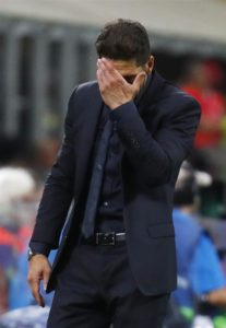 Atletico Madrid boss Diego Simeone has apologised if his ''groin grabbing' gesture upset anyone's feelings on Wednesday.