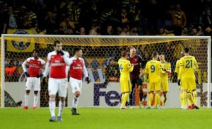 Arsenal slumped to a humiliating 1-0 defeat away to BATE Borisov in the first leg of their Europa League last-32 tie.