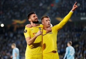 Ross Barkley and Olivier Giroud were on target for Chelsea as they claimed a 2-1 win at Malmo in the last 32 of the Europa League.