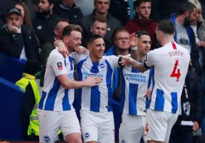 Brighton reached the quarter-finals of the FA Cup for the second season in a row by clinching a 2-1 victory against Derby County.