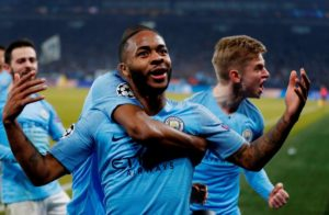 Raheem Sterling's last-minute goal sealed ten-man Manchester City a 3-2 win at Schalke in their Champions League last-16 first-leg tie.
