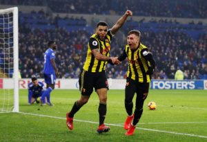 Gerard Deulofeu grabbed a hat-trick as in-form Watford thrashed Premier League strugglers Cardiff 5-1 at the Cardiff City Stadium.