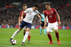 Jadon Sancho was handed his first competitive start for England in the Euro 2020 qualifier against Czech Republic at Wembley.
