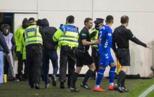 A man has been arrested following an incident involving Rangers captain James Tavernier during Friday's Ladbrokes Premiership game at Hibernian.