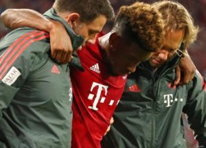 Kingsley Coman is back on the training ground and is facing a race to make the Champions League clash against Liverpool.