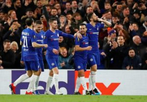 Chelsea eased to a comprehensive 3-0 victory at home to Dynamo Kiev in the first leg of their Europa League last-16 tie.