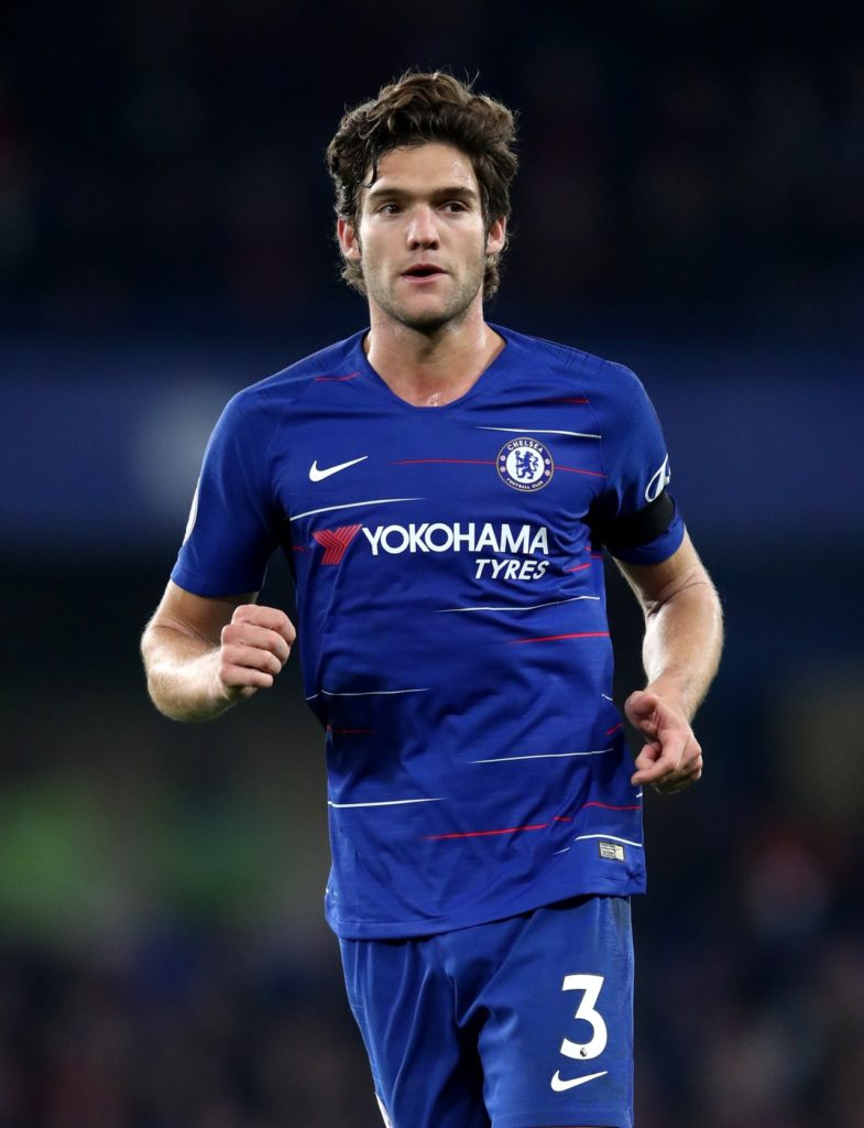 Marcus Alonso scored the only goal to give Chelsea victory over Slavia Prague in the first leg of their Europa League quarter-final.