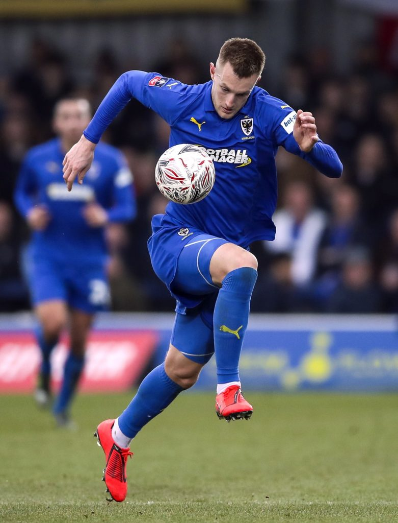 Joe Pigott's double earned AFC Wimbledon a battling 2-1 home win against Wycombe to ease their Sky Bet League One relegation fears.