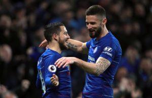 Chelsea striker Olivier Giroud believes team-mate Eden Hazard should win the Premier League Player of the Year award this season.