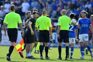 Danny Cowley criticised referee Lee Mason after he sent off Lincoln captain Jason Shackell in the 1-0 defeat at Carlisle.