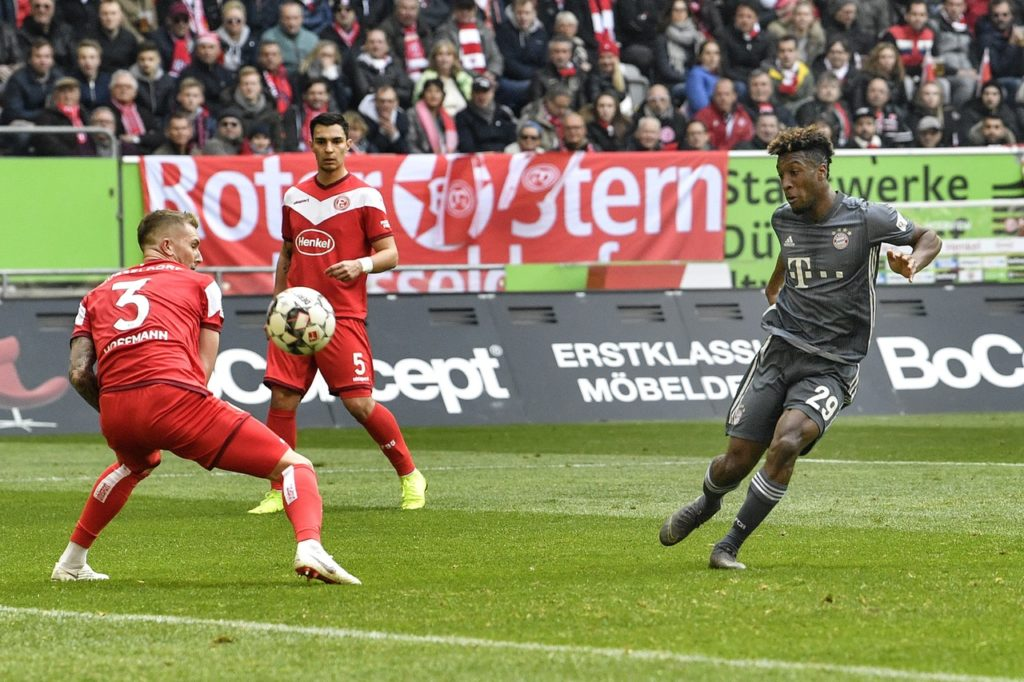 Bayern Munich moved to the top of the Bundesliga table as they thrashed Fortuna Dusseldorf 4-1 with Kingsley Coman scoring twice.