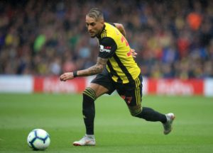 Roberto Pereyra is a doubt for Watford's FA Cup semi-final against Wolves at Wembley on Sunday due to a hip injury.