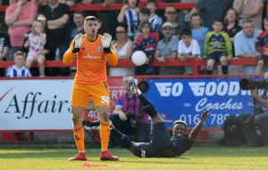 Accrington are still without suspended goalkeeper Dimitar Evtimov for the clash withPlymouth.