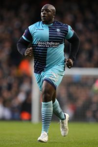 Adebayo Akinfenwa scored twice in the space of four second-half minutes to fire Wycombe Wanderers to a crucial 2-0 at fellow strugglers Southend United.