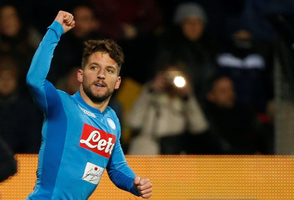 Napoli's Dries Mertens is a doubt for next week's Europa League quarter-final, first-leg clash with Arsenal due to injury.