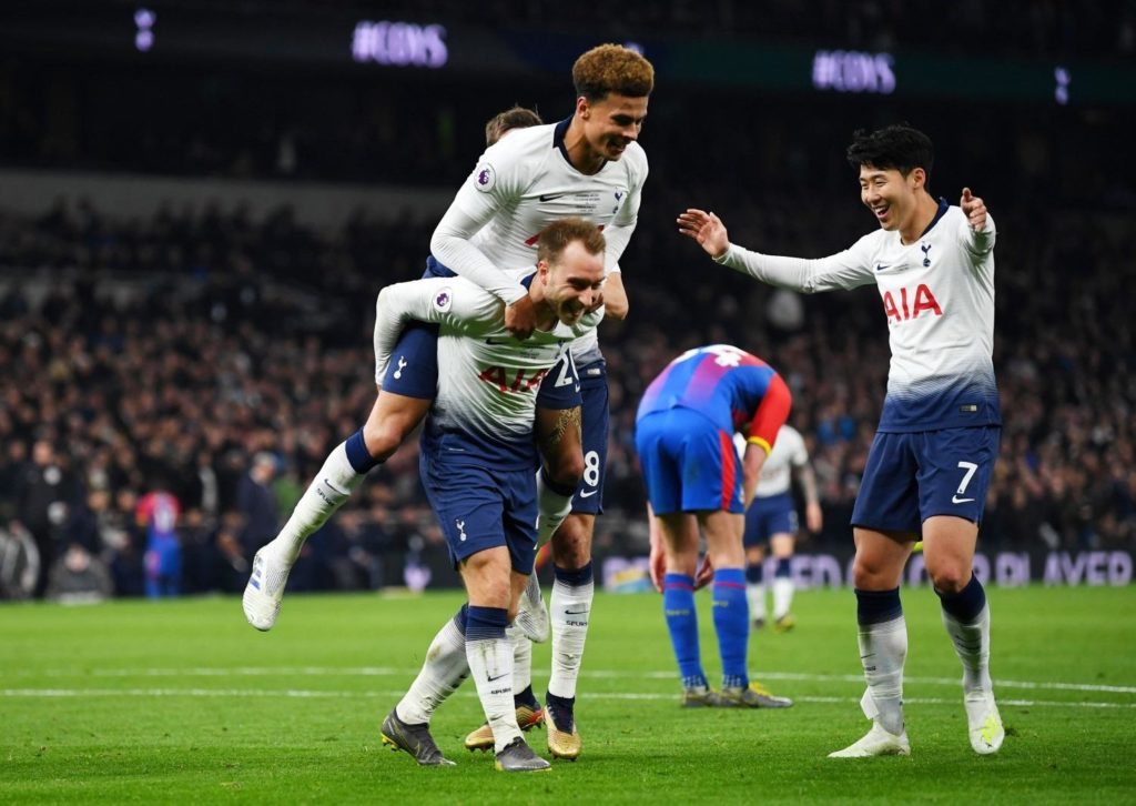 Tottenham were far from spectacular on the opening night of their new stadium but still had enough to beat Crystal Palace 2-0.