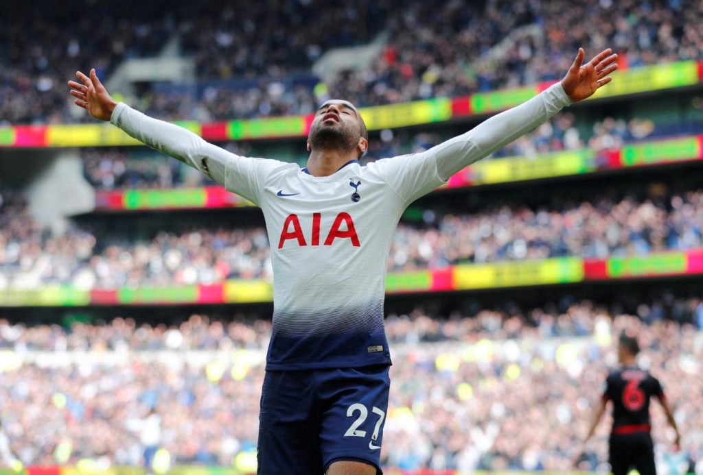 Lucas Moura grabbed a hat-trick and Victor Wanyama scored a rare goal as Tottenham eased to a 4-0 victory against Huddersfield Town.
