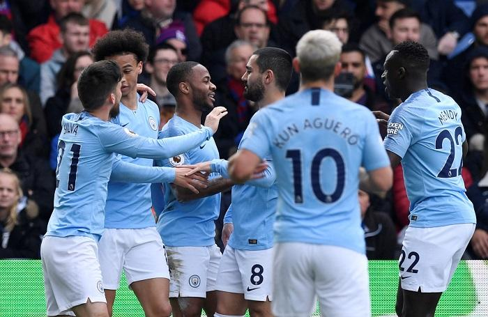 Raheem Sterling scored twice as Manchester City made it nine Premier League victories in a row with a 3-1 success at Crystal Palace.